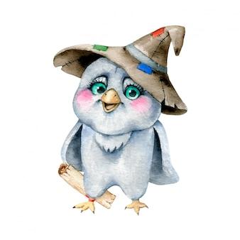 Illustrazione dell'acquerello di un gufo magico del fumetto sveglio in un cappello dello stregone con una lettera isolata