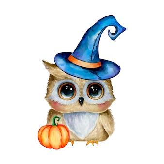 Illustrazione dell'acquerello di un gufo sveglio di halloween del fumetto in un cappello magico con una zucca isolata