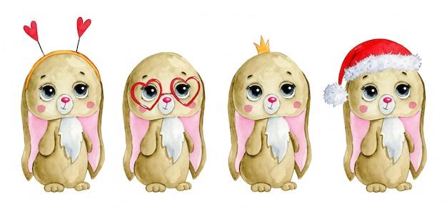 Illustrazione dell'acquerello di un insieme sveglio del coniglietto di natale di inverno del fumetto.