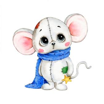 Illustrazione dell'acquerello di un topo bianco sveglio con una sciarpa blu e una stella su un fondo bianco
