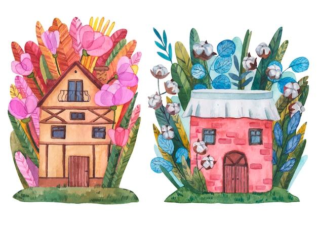 Illustrazione dell'acquerello di una casa del fiore della latta. dolce casa in fiori, un'illustrazione per cartoline, calamita e altri souvenir