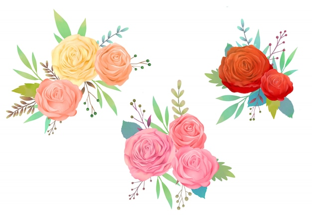 Illustrazione dell'acquerello rosa rossa