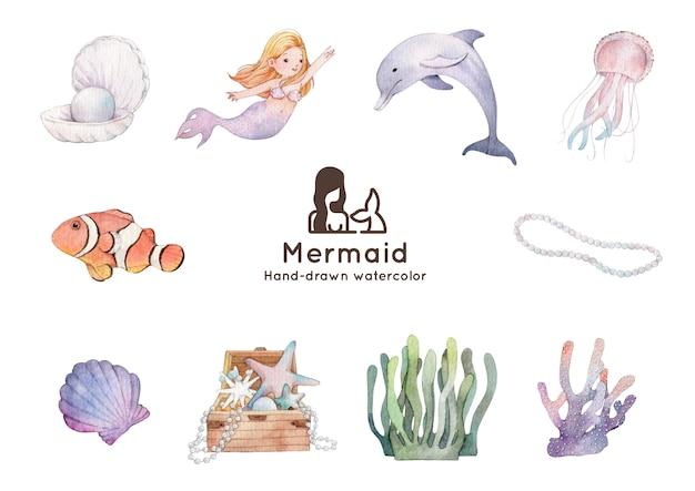 Illustrazione dell'acquerello tema sirena