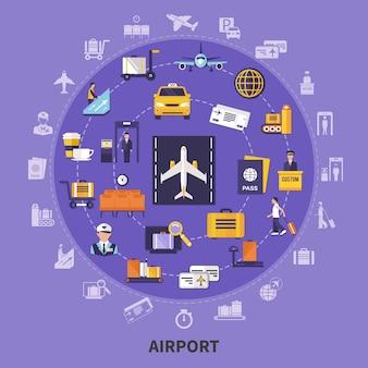 Illustrazione dell'aeroporto piatto