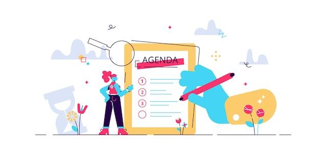 Illustrazione dell'agenda della riunione. pianifica le persone minuscole. elenco di appuntamenti di lavoro. ordine di gestione della pianificazione professionale per l'orario delle informazioni aziendali.
