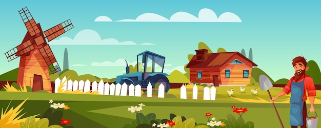 Illustrazione dell'agricoltore o del contadino dell'uomo con la barba e della vanga a terreno coltivabile.