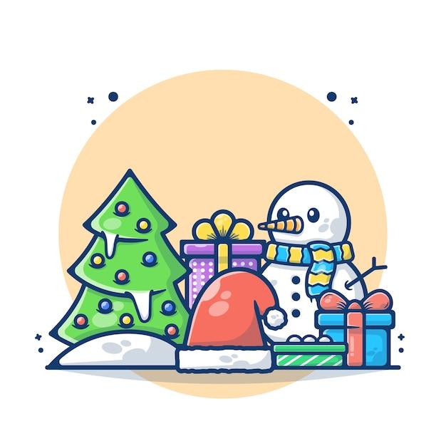 Illustrazione dell'albero di natale con pupazzo di neve