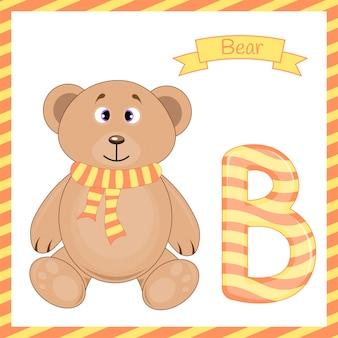 Illustrazione dell'alfabeto animale isolato b con il fumetto dell'orso