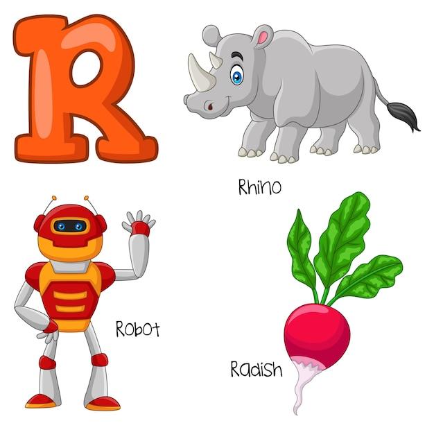 Illustrazione dell'alfabeto r