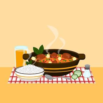 Illustrazione dell'alimento di comodità con il pasto