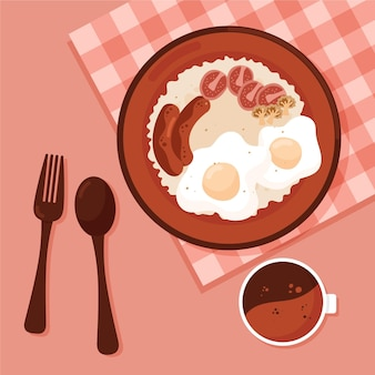 Illustrazione dell'alimento di comodità con la prima colazione inglese