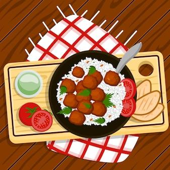 Illustrazione dell'alimento di comodità con riso e le polpette