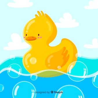 Illustrazione dell'anatra di gomma gialla sveglia su acqua piena di bolle