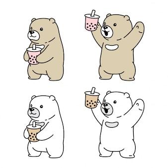 Illustrazione dell'animale del fumetto del tè al latte di boba dell'orso polare