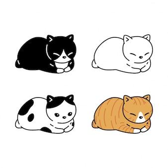 Illustrazione dell'animale domestico del personaggio dei cartoni animati del gattino del gatto