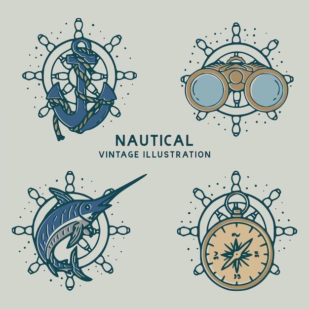Illustrazione dell'annata di ancore nautiche, pesci, bussole e binocoli