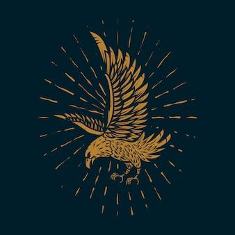 Illustrazione dell'aquila in stile dorato su sfondo scuro. elemento per poster, carta, segno, stampa. immagine