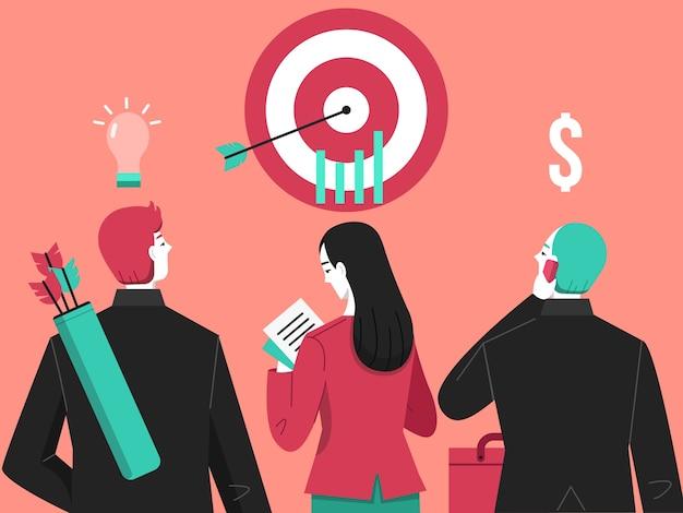 Illustrazione dell'archetto dell'obiettivo di affari