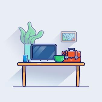 Illustrazione dell'area di lavoro. monitor e computer portatile sul tavolo. concetto di area di lavoro bianco isolato