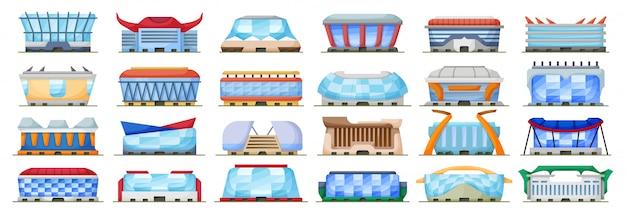 Illustrazione dell'arena di sport su fondo bianco. stadio stabilito dell'icona del fumetto isolato. cartoon set icon sport arena.