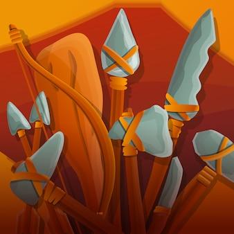 Illustrazione dell'armatura di età della pietra, stile del fumetto