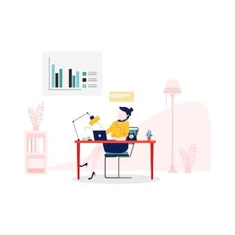 Illustrazione dell'assistente online in stile piano