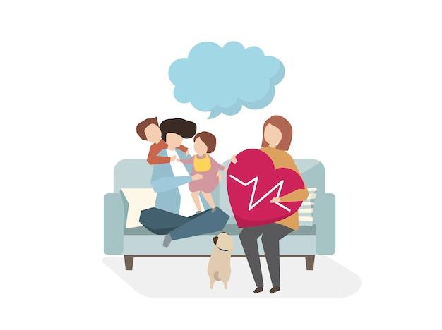 Illustrazione dell'assistenza sanitaria di famiglia