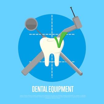 Illustrazione dell'attrezzatura dentale con gli strumenti trasversalmente