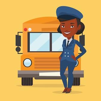 Illustrazione dell'autista di scuolabus.