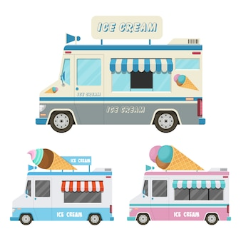 Illustrazione dell'automobile del gelato isolata su fondo bianco