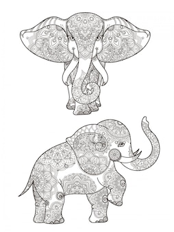 Illustrazione dell'elefante con la decorazione di vettore delle mandale. elefante etnico con decoro mandala a motivi
