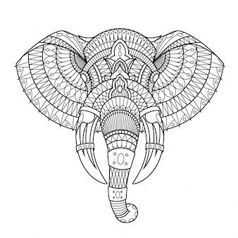 Illustrazione dell'elefante, mandala zentangle in libro da colorare di stile lineare