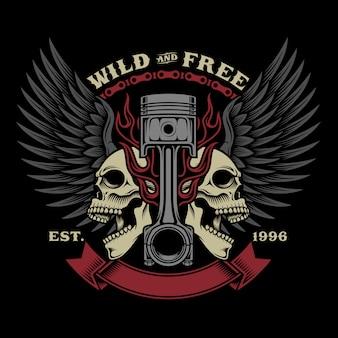 Illustrazione dell'emblema del cranio del motociclista