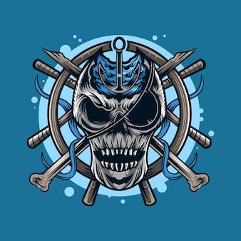 Illustrazione dell'emblema di simbolo della mascotte del cranio dei pirati