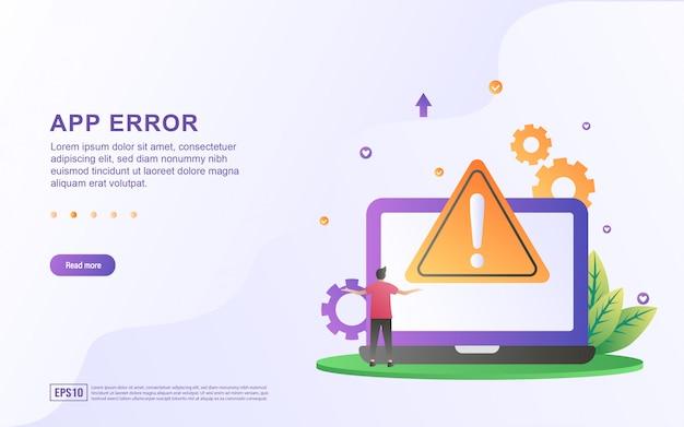 Illustrazione dell'errore dell'app con persone che si lamentano a causa di errori.