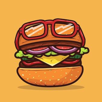 Illustrazione dell'hamburger con l'illustrazione dell'alimento degli occhiali