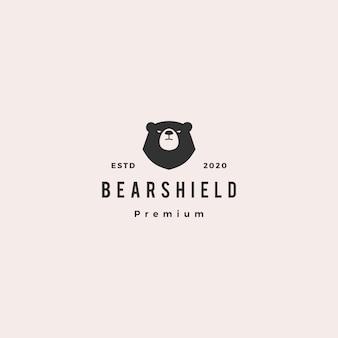 Illustrazione dell'icona d'annata dei pantaloni a vita bassa di logo dello scudo dell'orso retro