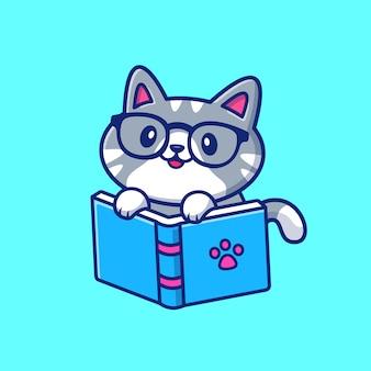 Illustrazione dell'icona del fumetto del libro di lettura del gatto sveglio. concetto dell'icona di educazione degli animali isolato. stile cartone animato piatto