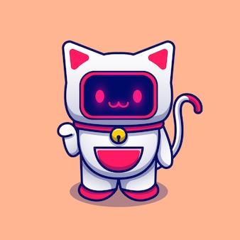 Illustrazione dell'icona del fumetto del robot del gatto. concetto dell'icona di tecnologia animale isolato. stile cartone animato piatto