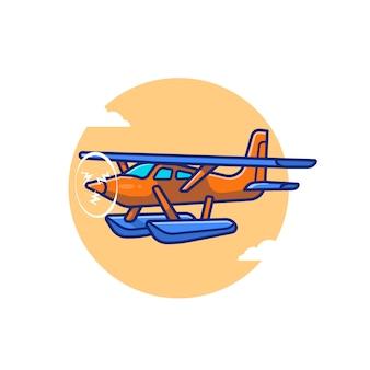 Illustrazione dell'icona del fumetto dell'aereo dell'annata. concetto di icona di trasporto aereo isolato premium. stile cartone animato piatto