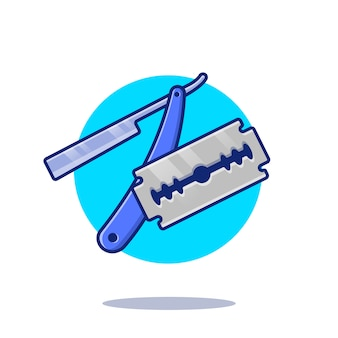 Illustrazione dell'icona del fumetto della lama del rasoio da barba. barber shop strumenti icona concetto isolato. stile cartone animato piatto
