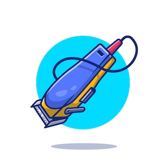 Illustrazione dell'icona del fumetto della macchina del barbiere. barbiere strumenti icona concetto isolato. stile cartone animato piatto
