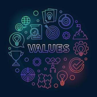 Illustrazione dell'icona del profilo colorata concetto rotondo di valori