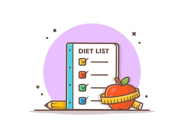 Illustrazione dell'icona dell'elenco di dieta