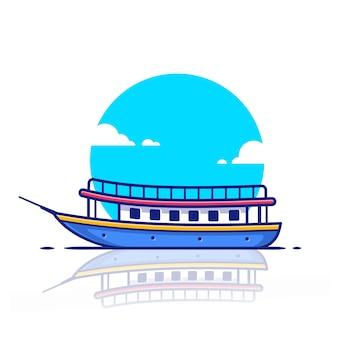Illustrazione dell'icona della barca della nave da crociera del passeggero. concetto dell'icona di trasporto dell'acqua.