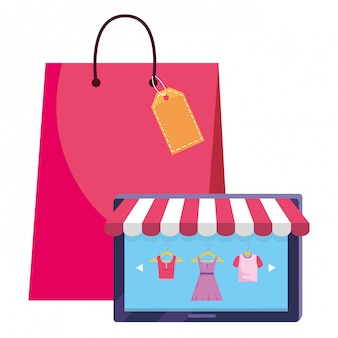 Illustrazione dell'icona della compressa e della borsa