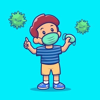 Illustrazione dell'icona della maschera della tenuta e di usura del ragazzo. personaggio dei cartoni animati di corona mascotte. concetto dell'icona della gente isolato