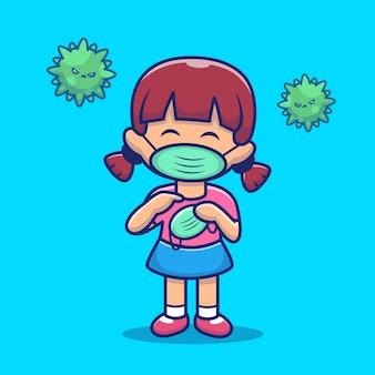 Illustrazione dell'icona della maschera della tenuta e di usura della ragazza. personaggio dei cartoni animati di corona mascotte. concetto dell'icona della gente isolato