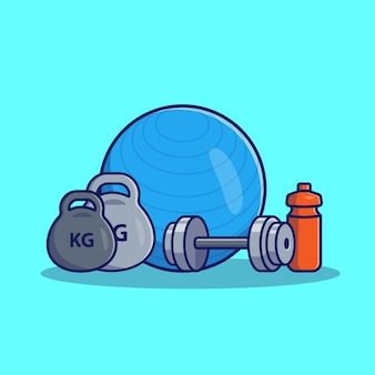 Illustrazione dell'icona della palla di forma fisica e di dumbell. concetto dell'icona di forma fisica e della palestra isolato. stile cartone animato piatto
