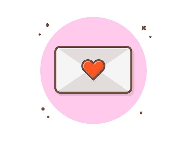 Illustrazione dell'icona della posta di amore. mail with love sign, invito a nozze